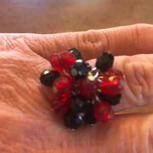 Red and Black Beaded Ring